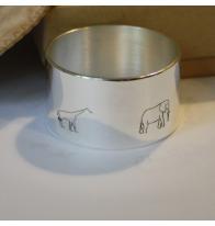 """Rond métal argenté """"animaux"""""""