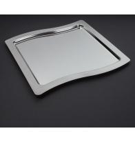 Plateau Swing en métal argenté 32,5 x 32,5 cm