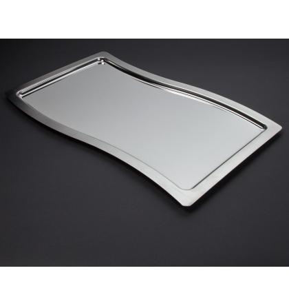 Plateau Swing en métal argenté 53 x 32,5 cm